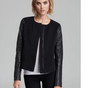 Vince leather sleeves wool blend black jacket